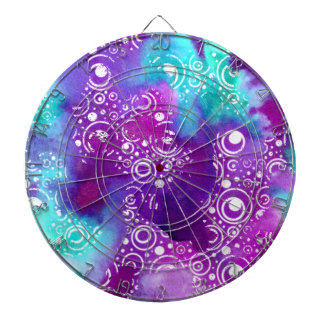 Watercolor Bubbles Purple/turquoise Dartboard