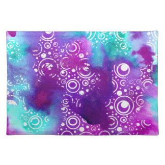 Watercolor Bubbles Purple/turquoise Placemat