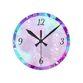 Watercolor Bubbles Variation Round Clock