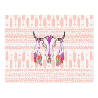 Watercolor Bull Skull Feathers and Arrow Aztec Postcard