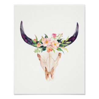 Watercolor Bull Skull with Pink Flowers Poster