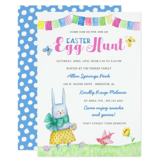Watercolor Bunny Easter Egg Hunt Invitation