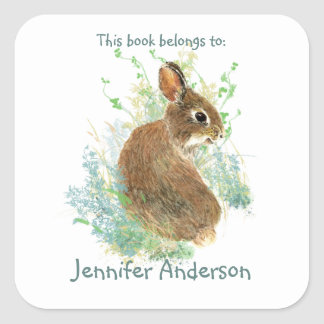 Watercolor Bunny Rabbit Cute Animal Fun Bookplate Square Sticker