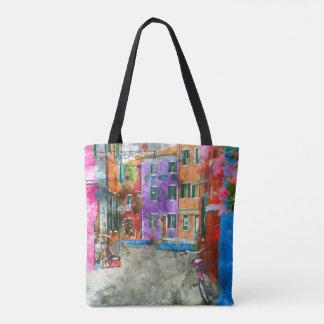 Watercolor Burano Italy Custom Bag