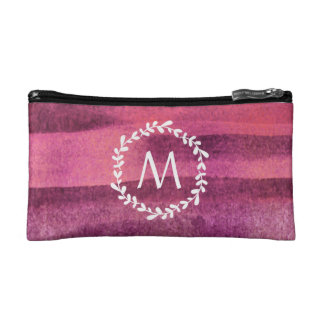 Watercolor Burgundy & Blush Monogram Makeup Bag