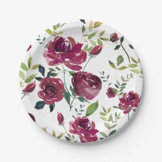 Watercolor Burgundy Flowers   Floral Pattern Paper Plate