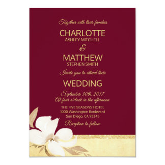 Watercolor Burgundy Gold Wedding Invitation