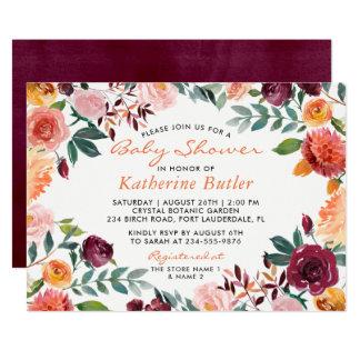 Watercolor Burgundy Orange Pink Floral Baby Shower Card