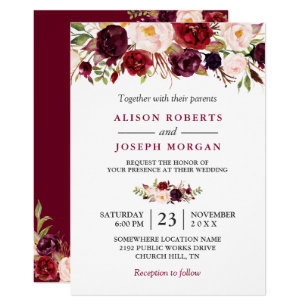 Wedding invitations zazzle watercolor burgundy red floral rustic boho wedding invitation stopboris Choice Image