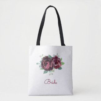 Watercolor Burgundy Rose Tote Bag
