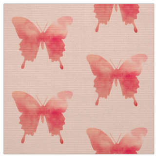 Watercolor Butterflies - Coral and Peach Fabric
