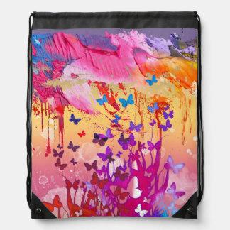 Watercolor Butterflies Drawstring Backpack
