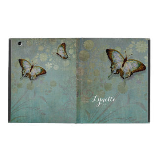 Watercolor Butterflies w Modern Floral Pattern iPad Cover