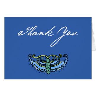 Watercolor Butterfly (blue/script on blue) Card