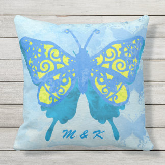 Watercolor Butterfly Blue Yellow Vintage Handpaint Outdoor Cushion