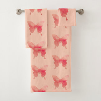 Watercolor Butterfly - Coral and Peach Bath Towel Set