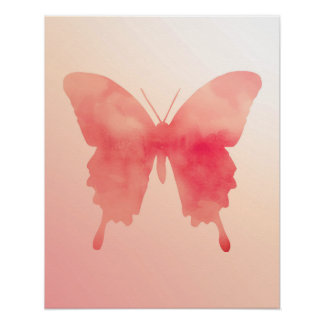 Watercolor Butterfly - Coral and Peach Poster