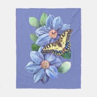 Watercolor Butterfly Fleece Blanket