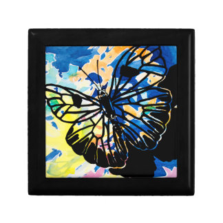 Watercolor Butterfly Keepsake Box (Blue)