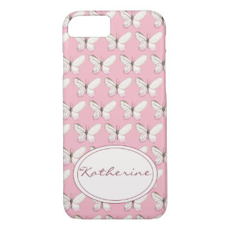 Watercolor Butterfly Pattern   Pink iPhone Case