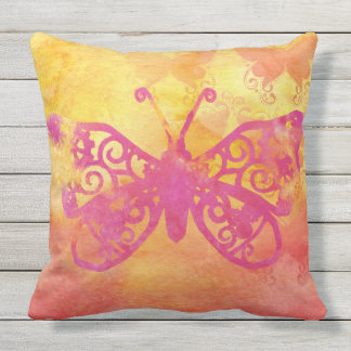 Watercolor Butterfly Pink Orange Yellow Handpaint Outdoor Cushion