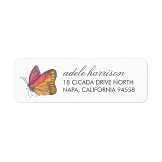 Watercolor Butterfly Red Return Address Label