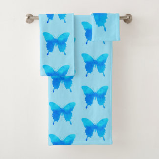 Watercolor Butterfly - Shades of Sky Blue Bath Towel Set