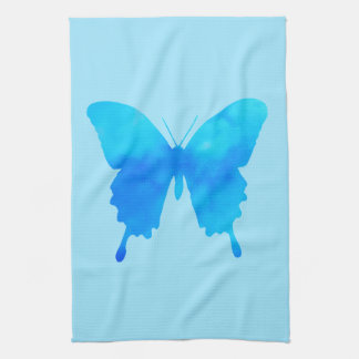 Watercolor Butterfly - Shades of Sky Blue Tea Towel