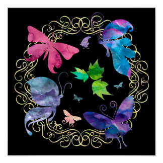 Watercolor Butterly Circlet Poster