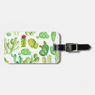 Watercolor Cacti Luggage Tag