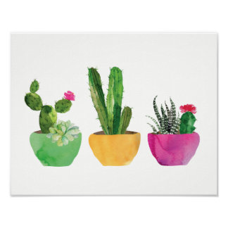 Watercolor Cactus and Succulent Print