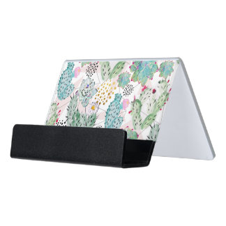 watercolor cactus and triangles pattern desk business card holder