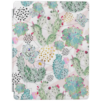 watercolor cactus and triangles pattern iPad cover