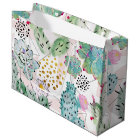watercolor cactus and triangles pattern large gift bag