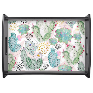 watercolor cactus and triangles pattern serving tray