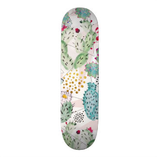 watercolor cactus and triangles pattern skateboard deck