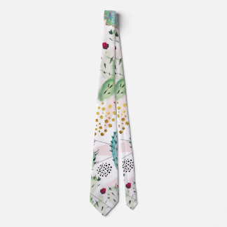 watercolor cactus and triangles pattern tie