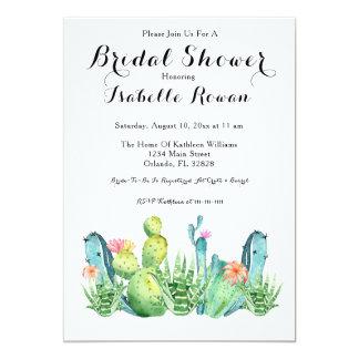 Watercolor Cactus Bridal Shower Invitation Card