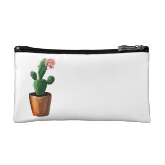 Watercolor Cactus Cosmetica Bag White Double Sided
