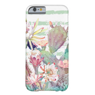 Watercolor cactus, floral and stripes design barely there iPhone 6 case