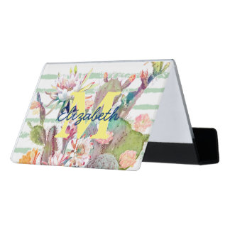 Watercolor cactus, floral and stripes design desk business card holder