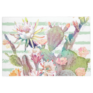 Watercolor cactus, floral and stripes design doormat