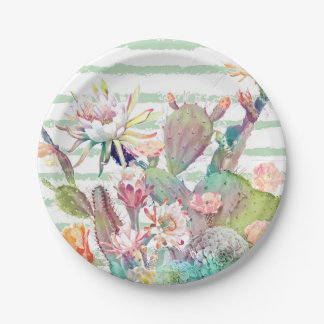 Watercolor cactus, floral and stripes design paper plate