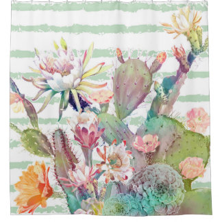 Watercolor cactus, floral and stripes design shower curtain