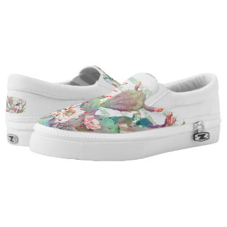 Watercolor cactus, floral and stripes design slip on shoes