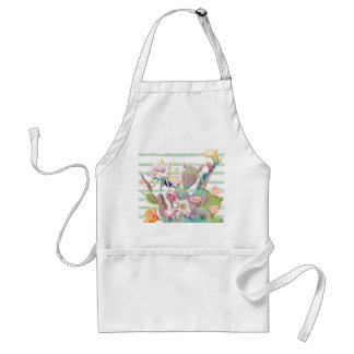 Watercolor cactus, floral and stripes design standard apron