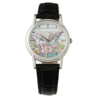 Watercolor cactus, floral and stripes design watch