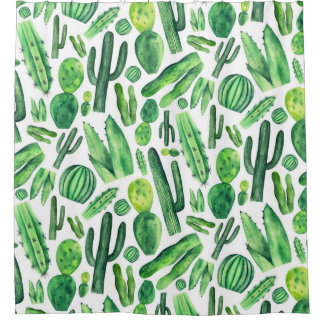 Watercolor cactus. Green nature pattern. Modern Shower Curtain