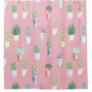 Watercolor Cactus in pots Shower Curtain