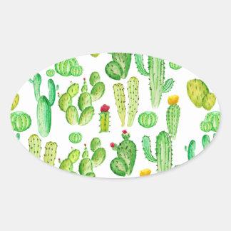 watercolor cactus oval sticker